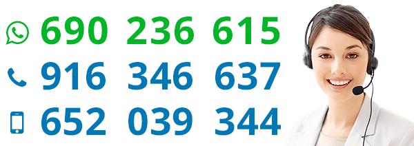 Fijo: 916 346 637 · Móvil: 652 039 344 · Whatsapp: 662 950 208