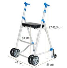 Parador con ruedas supletorias y asiento